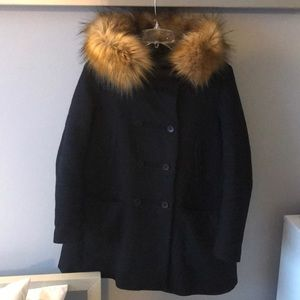 Navy wool Zara coat with removable fur